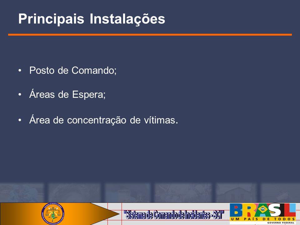 Principais Instalações Posto de Comando; Áreas de Espera; Área de concentração de vítimas.