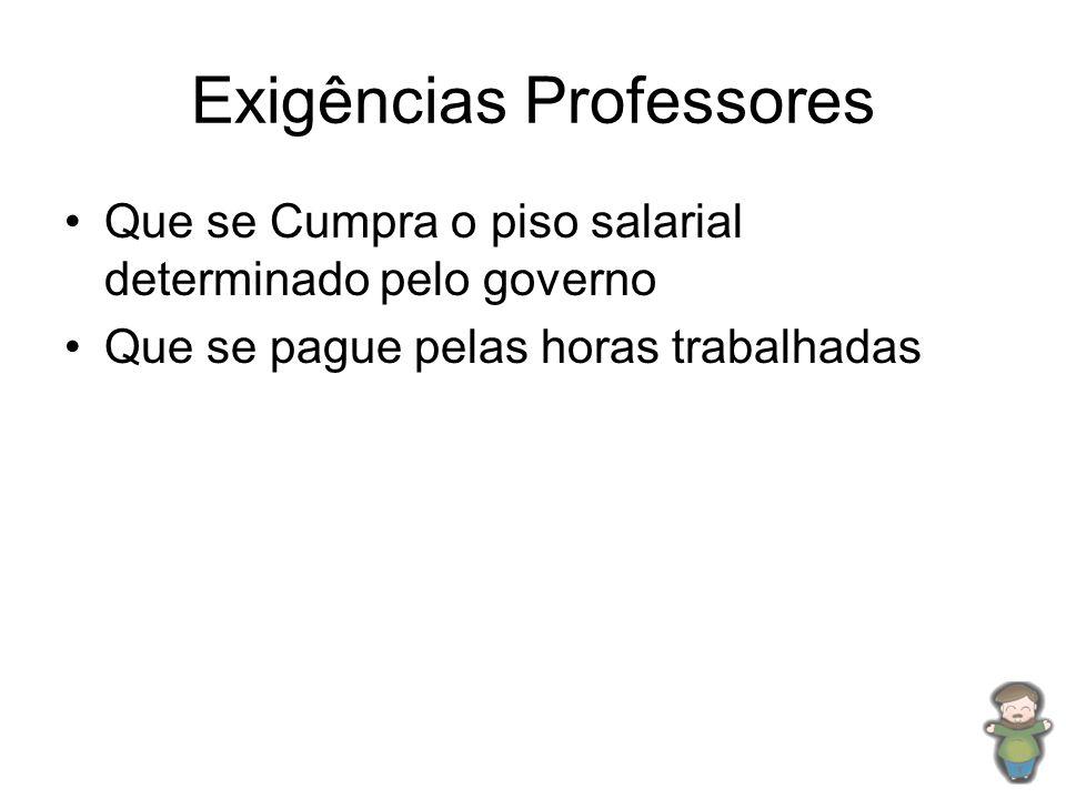 Exigências Professores •Que se Cumpra o piso salarial determinado pelo governo •Que se pague pelas horas trabalhadas