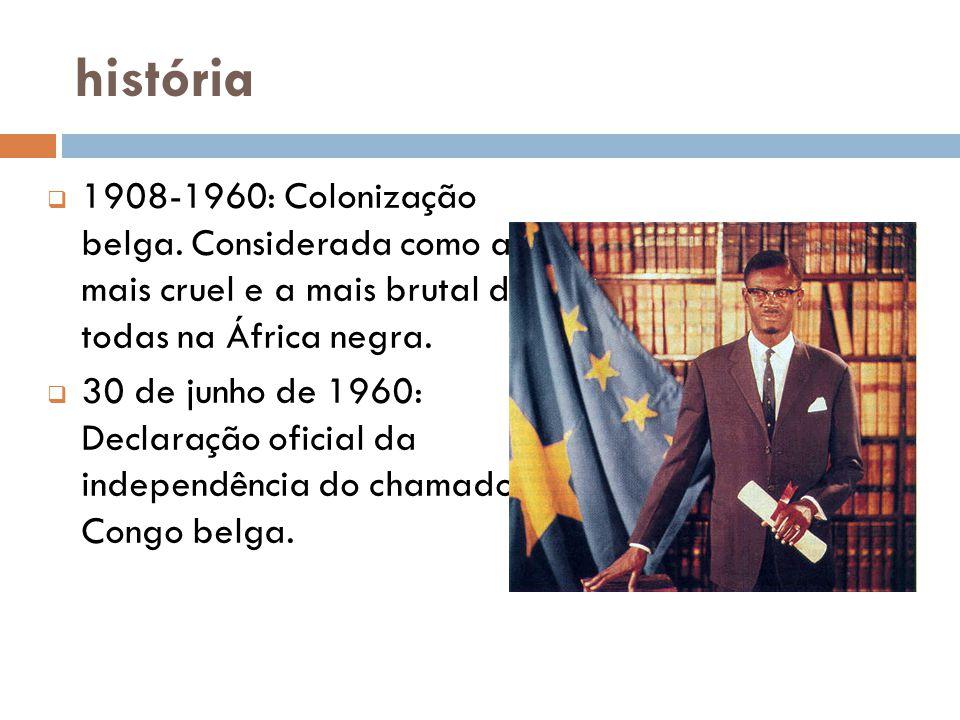 história  1908-1960: Colonização belga.