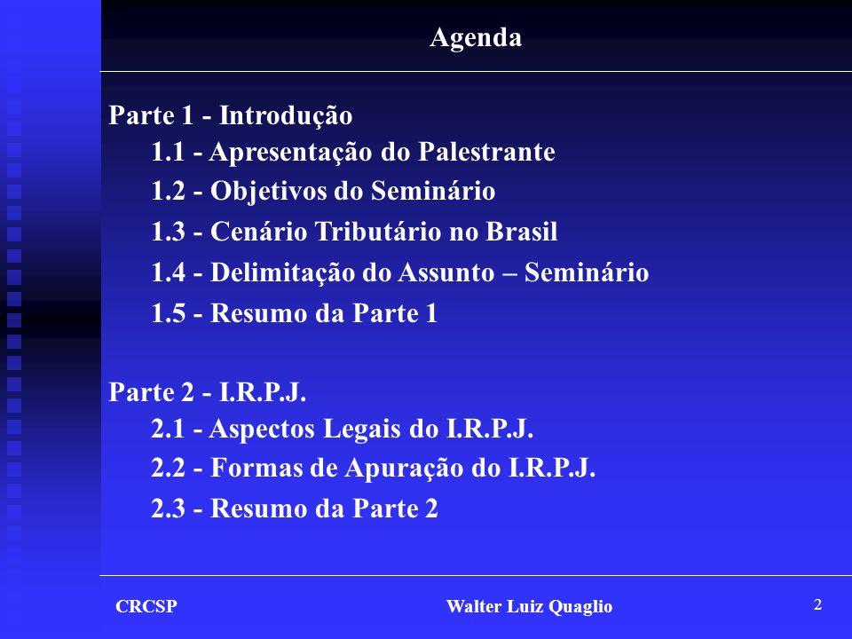 2 CRCSP Walter Luiz Quaglio Agenda Parte 1 - Introdução 1.1 - Apresentação do Palestrante 1.2 - Objetivos do Seminário 1.3 - Cenário Tributário no Bra