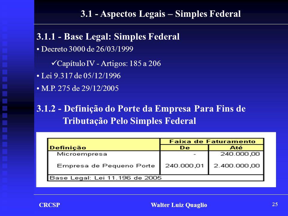 25 3.1 - Aspectos Legais – Simples Federal 3.1.1 - Base Legal: Simples Federal • Decreto 3000 de 26/03/1999  Capítulo IV - Artigos: 185 a 206 • Lei 9