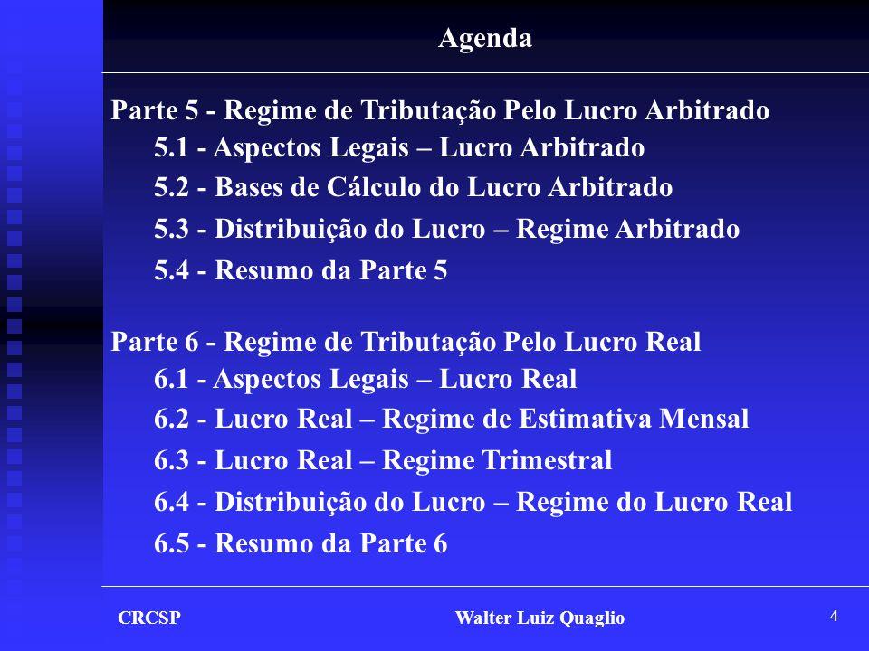 5 CRCSP Walter Luiz Quaglio Agenda Parte 7 - Livro de Apuração do Lucro Real – LALUR 7.1 - Aspectos Legais – LALUR 7.2 - Principais Ajustes ao Lucro Líquido 7.3 - Exemplo de Escrituração do LALUR 7.4 - Compensação do Prejuízo Fiscal 7.5 - Resumo da Parte 7 Parte 8 - Juros Sobre o Capital Próprio 8.1 - Aspectos Legais – Juros Sobre o Capital Próprio 8.2 - Cálculo da T.J.L.P.
