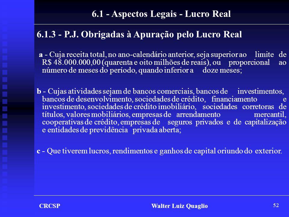 52 6.1 - Aspectos Legais - Lucro Real 6.1.3 - P.J. Obrigadas à Apuração pelo Lucro Real a - Cuja receita total, no ano-calendário anterior, seja super
