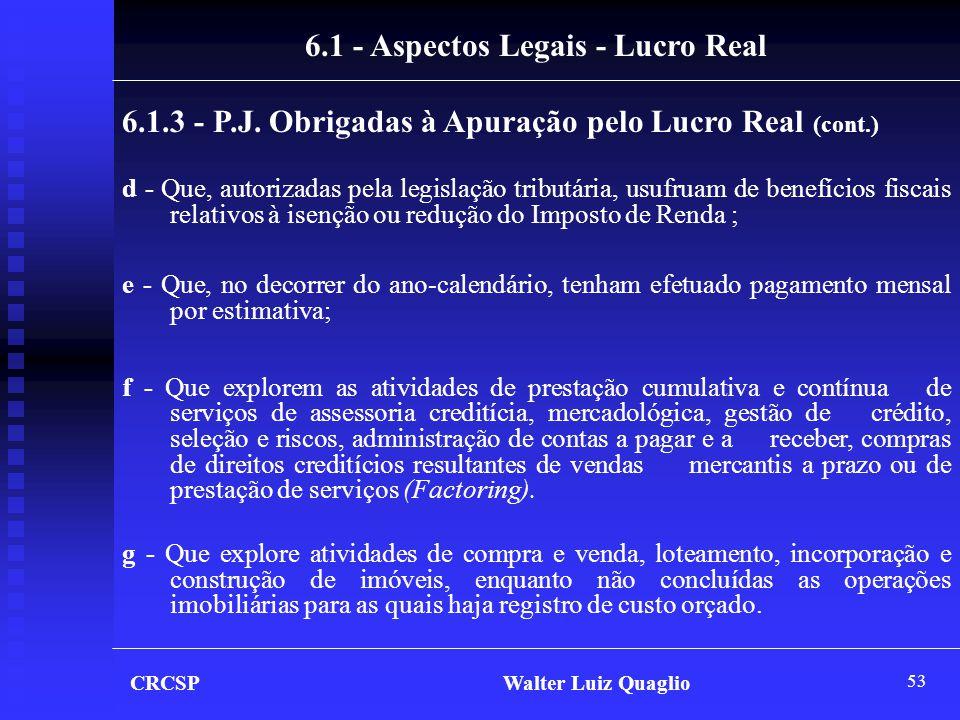 53 6.1 - Aspectos Legais - Lucro Real 6.1.3 - P.J. Obrigadas à Apuração pelo Lucro Real (cont.) d - Que, autorizadas pela legislação tributária, usufr