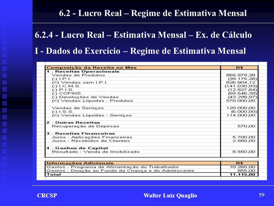 59 I - Dados do Exercício – Regime de Estimativa Mensal CRCSP Walter Luiz Quaglio 6.2 - Lucro Real – Regime de Estimativa Mensal 6.2.4 - Lucro Real –