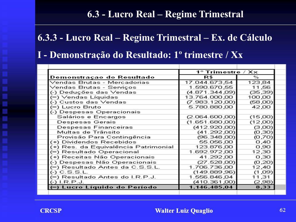 62 CRCSP Walter Luiz Quaglio 6.3 - Lucro Real – Regime Trimestral 6.3.3 - Lucro Real – Regime Trimestral – Ex. de Cálculo I - Demonstração do Resultad