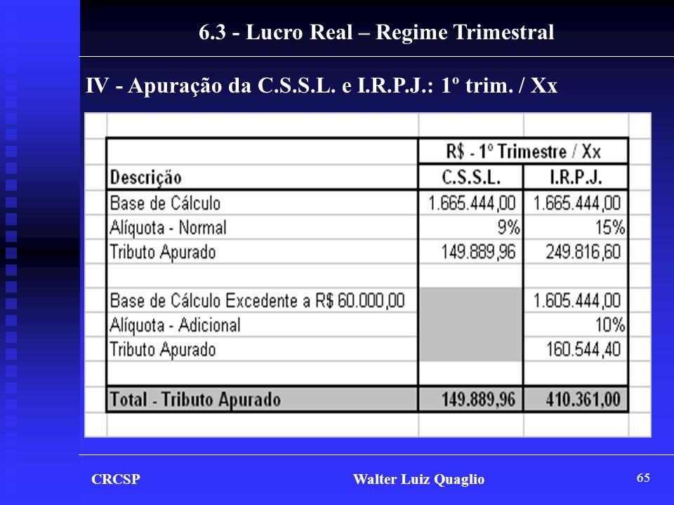 65 CRCSP Walter Luiz Quaglio 6.3 - Lucro Real – Regime Trimestral IV - Apuração da C.S.S.L. e I.R.P.J.: 1º trim. / Xx