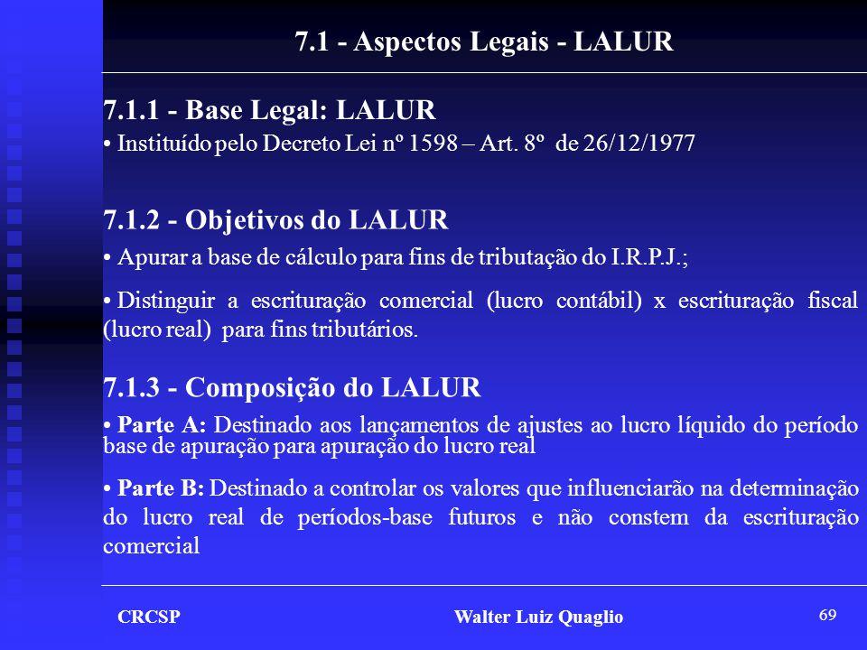 69 CRCSP Walter Luiz Quaglio 7.1 - Aspectos Legais - LALUR 7.1.1 - Base Legal: LALUR • Instituído pelo Decreto Lei nº 1598 – Art. 8º de 26/12/1977 7.1