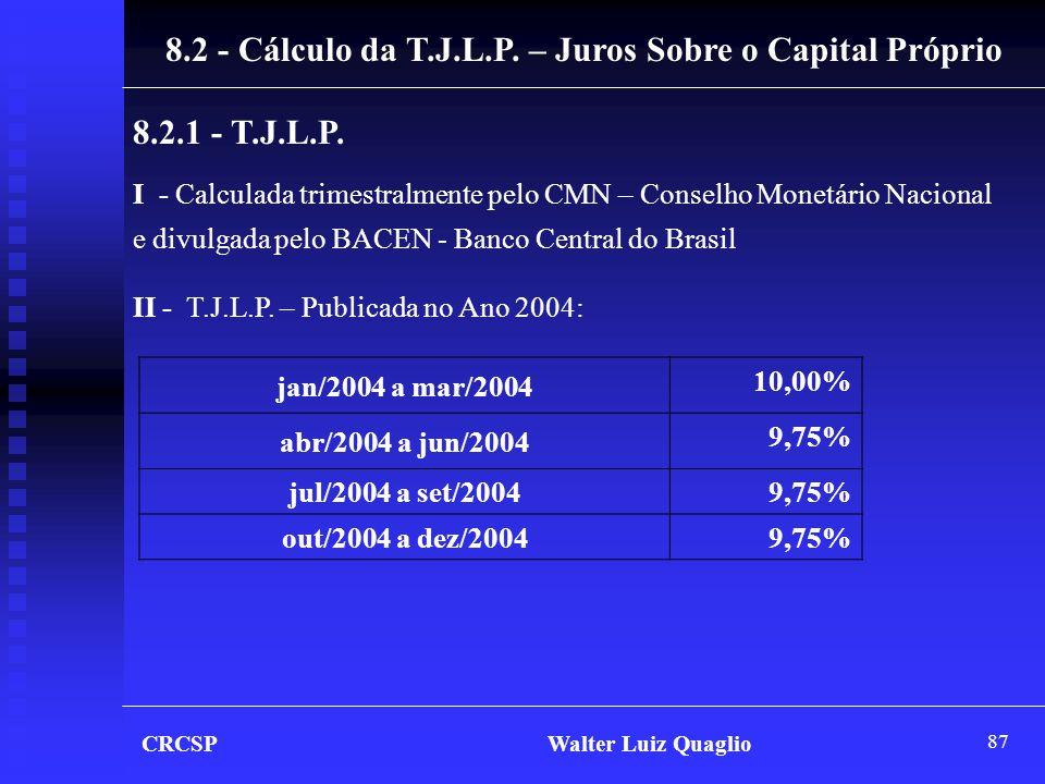 87 CRCSP Walter Luiz Quaglio 8.2 - Cálculo da T.J.L.P. – Juros Sobre o Capital Próprio 8.2.1 - T.J.L.P. I - Calculada trimestralmente pelo CMN – Conse
