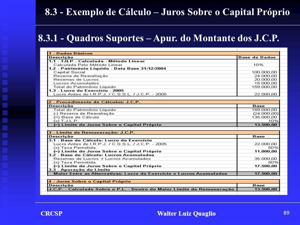 89 CRCSP Walter Luiz Quaglio 8.3 - Exemplo de Cálculo – Juros Sobre o Capital Próprio 8.3.1 - Quadros Suportes – Apur. do Montante dos J.C.P.