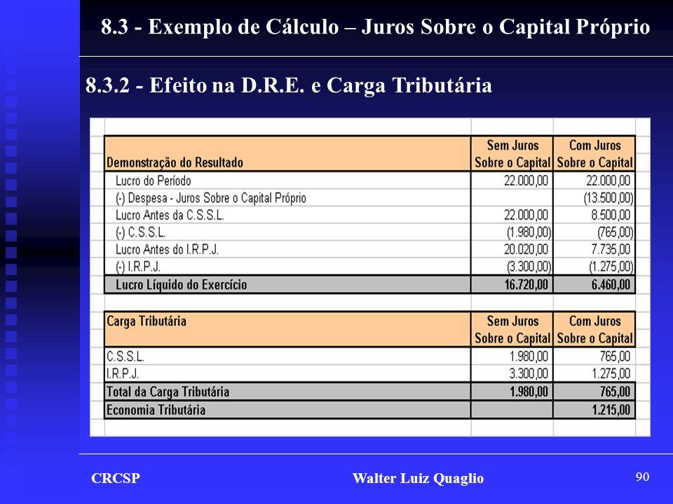 90 CRCSP Walter Luiz Quaglio 8.3 - Exemplo de Cálculo – Juros Sobre o Capital Próprio 8.3.2 - Efeito na D.R.E. e Carga Tributária