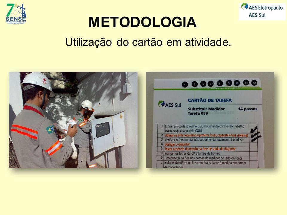 METODOLOGIA Utilização do cartão em atividade.