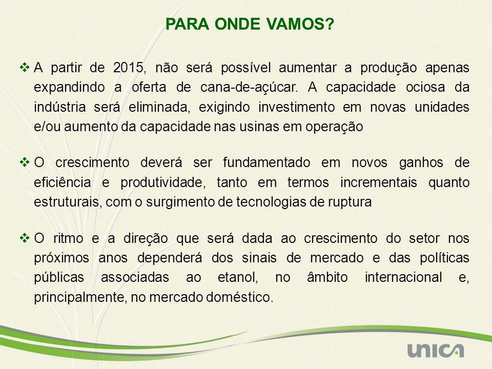 PARA ONDE VAMOS? A partir de 2015, não será possível aumentar a produção apenas expandindo a oferta de cana-de-açúcar. A capacidade ociosa da indústri