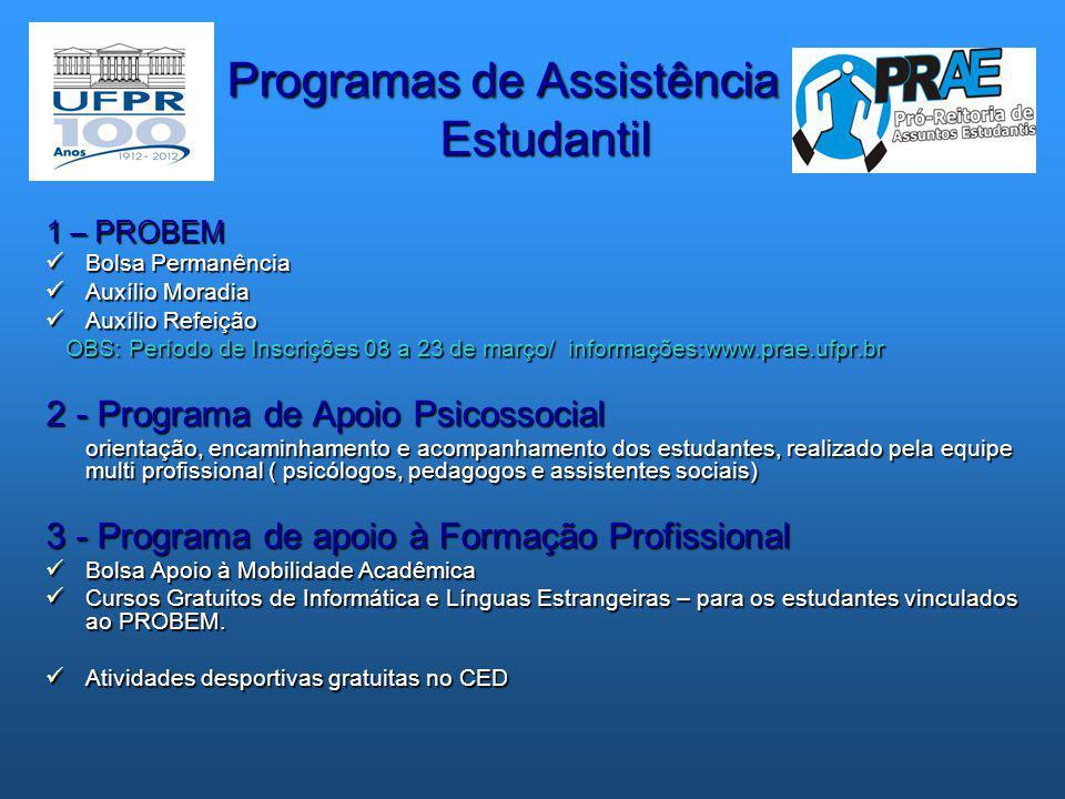 Programas de Assistência Estudantil Programas de Assistência Estudantil 1 – PROBEM  Bolsa Permanência  Auxílio Moradia  Auxílio Refeição OBS: Perío