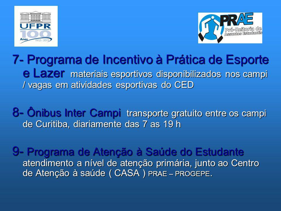 7- Programa de Incentivo à Prática de Esporte e Lazer materiais esportivos disponibilizados nos campi / vagas em atividades esportivas do CED 8- Ônibu