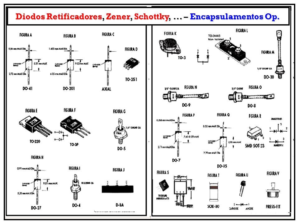 Diodos Retificadores, Zener, Schottky,... – Encapsulamentos Op.