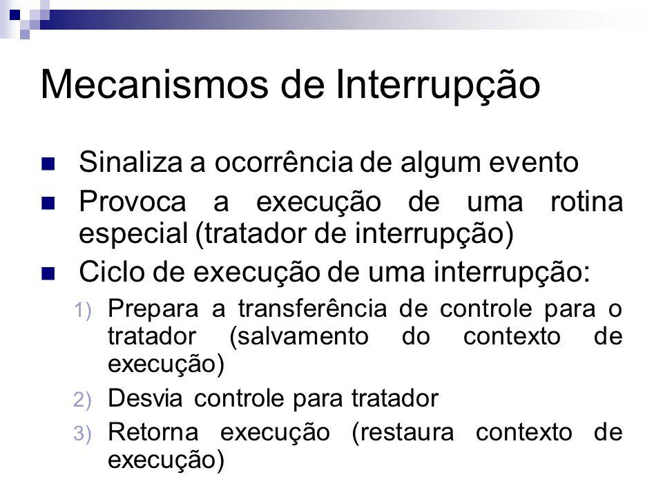 Mecanismos de Interrupção  Sinaliza a ocorrência de algum evento  Provoca a execução de uma rotina especial (tratador de interrupção)  Ciclo de execução de uma interrupção: 1) Prepara a transferência de controle para o tratador (salvamento do contexto de execução) 2) Desvia controle para tratador 3) Retorna execução (restaura contexto de execução)