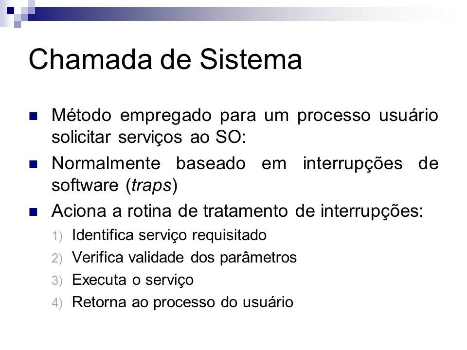 Chamada de Sistema  Método empregado para um processo usuário solicitar serviços ao SO:  Normalmente baseado em interrupções de software (traps)  Aciona a rotina de tratamento de interrupções: 1) Identifica serviço requisitado 2) Verifica validade dos parâmetros 3) Executa o serviço 4) Retorna ao processo do usuário