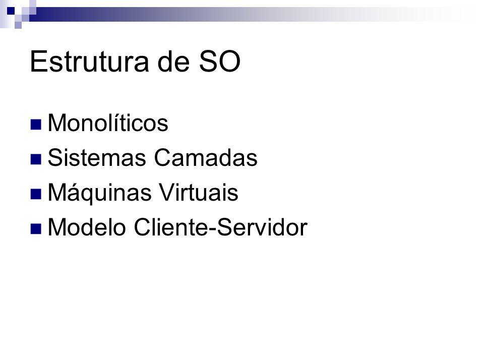 Estrutura de SO  Monolíticos  Sistemas Camadas  Máquinas Virtuais  Modelo Cliente-Servidor