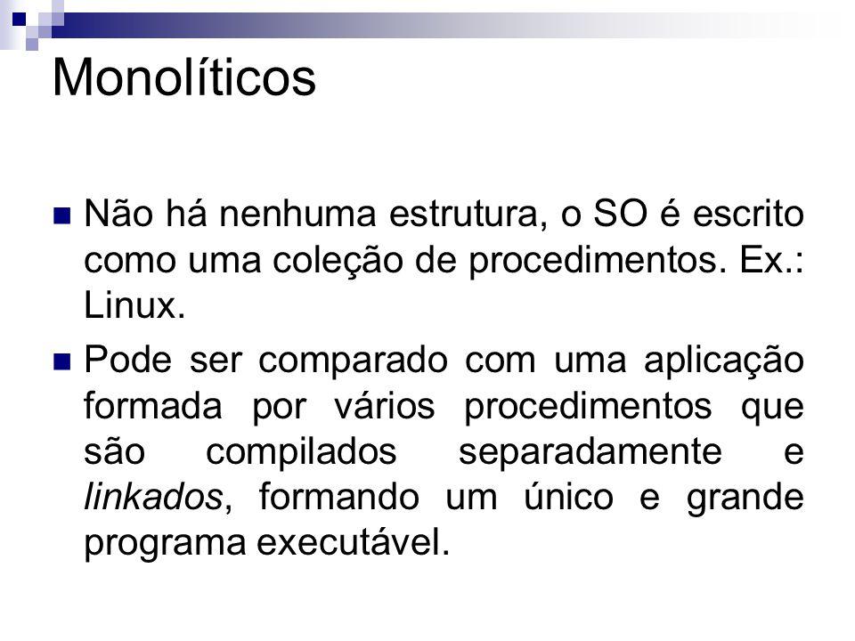 Monolíticos  Não há nenhuma estrutura, o SO é escrito como uma coleção de procedimentos.