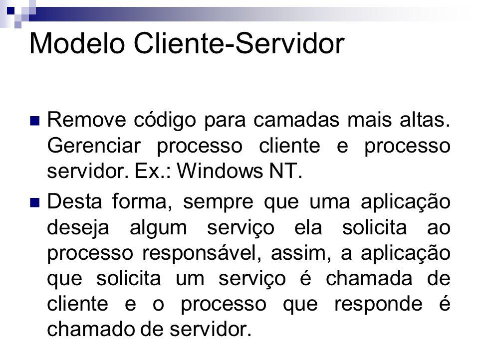 Modelo Cliente-Servidor  Remove código para camadas mais altas.