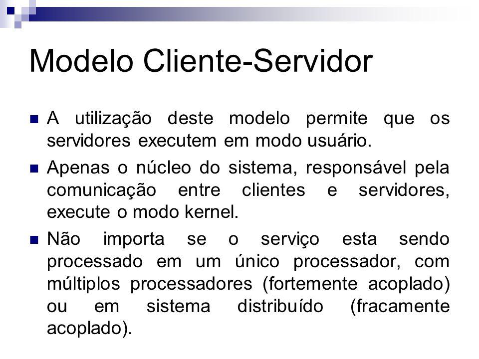 Modelo Cliente-Servidor  A utilização deste modelo permite que os servidores executem em modo usuário.