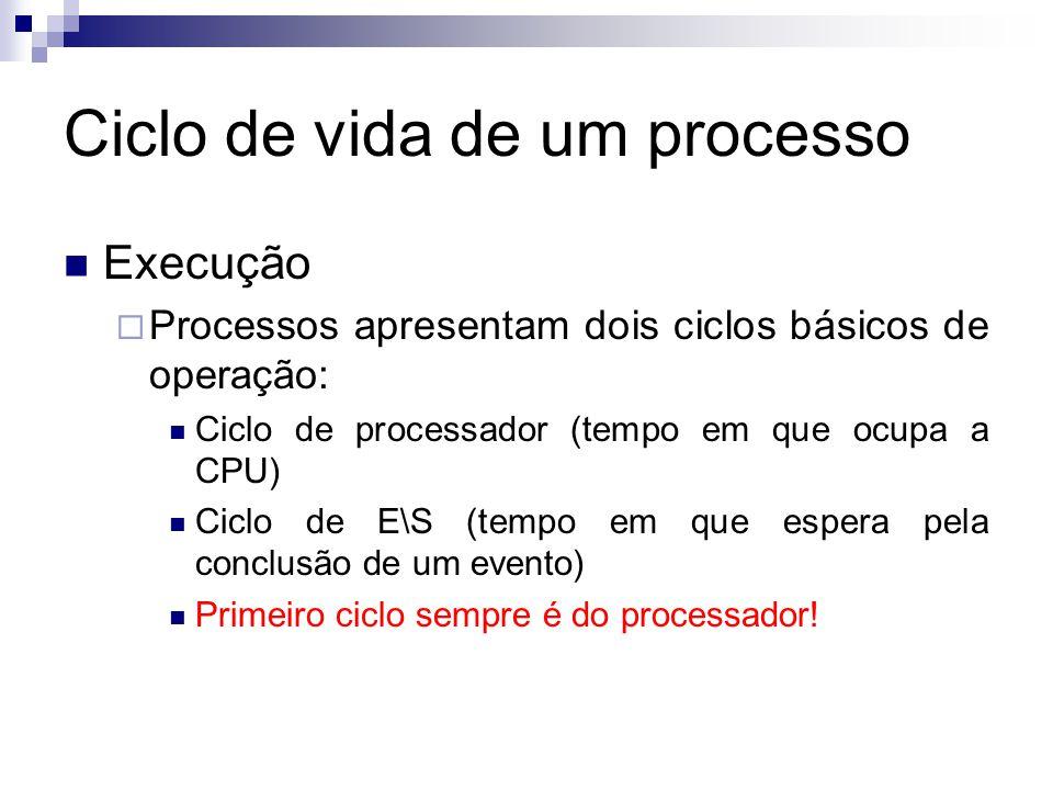 Ciclo de vida de um processo  Execução  Processos apresentam dois ciclos básicos de operação:  Ciclo de processador (tempo em que ocupa a CPU)  Ciclo de E\S (tempo em que espera pela conclusão de um evento)  Primeiro ciclo sempre é do processador!