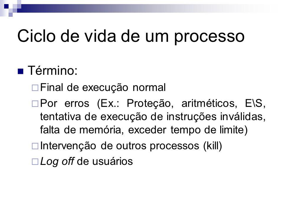 Ciclo de vida de um processo  Término:  Final de execução normal  Por erros (Ex.: Proteção, aritméticos, E\S, tentativa de execução de instruções inválidas, falta de memória, exceder tempo de limite)  Intervenção de outros processos (kill)  Log off de usuários