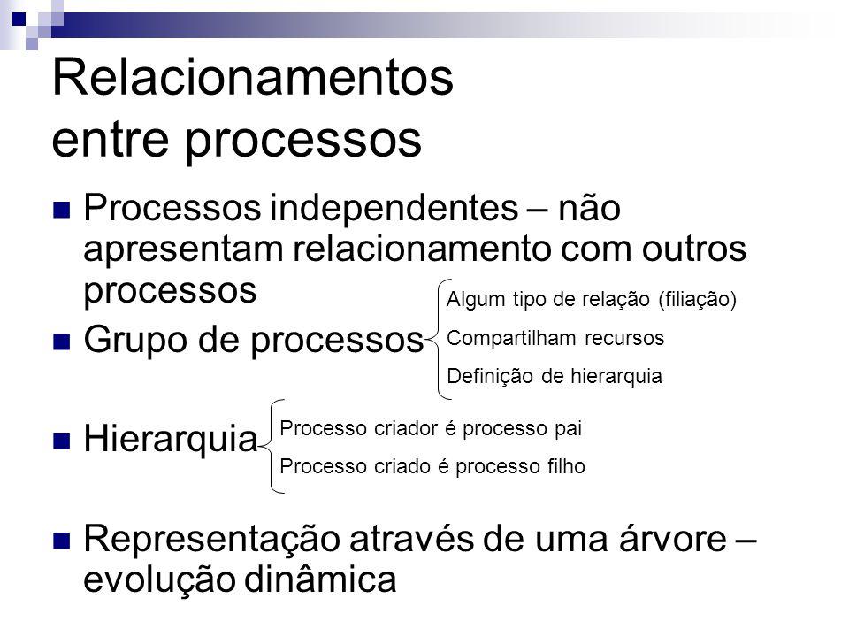 Relacionamentos entre processos  Processos independentes – não apresentam relacionamento com outros processos  Grupo de processos  Hierarquia  Representação através de uma árvore – evolução dinâmica Algum tipo de relação (filiação) Compartilham recursos Definição de hierarquia Processo criador é processo pai Processo criado é processo filho