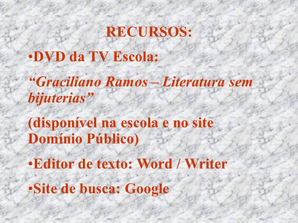 """RECURSOS: •DVD da TV Escola: """"Graciliano Ramos – Literatura sem bijuterias"""" (disponível na escola e no site Domínio Público) •Editor de texto: Word /"""
