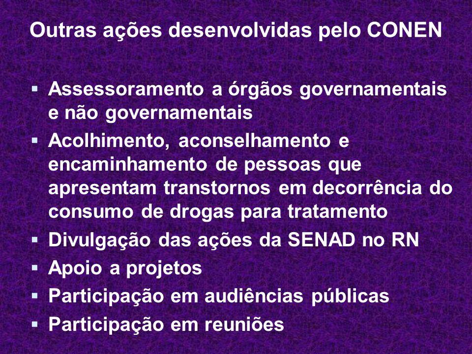 Outras ações desenvolvidas pelo CONEN  Assessoramento a órgãos governamentais e não governamentais  Acolhimento, aconselhamento e encaminhamento de