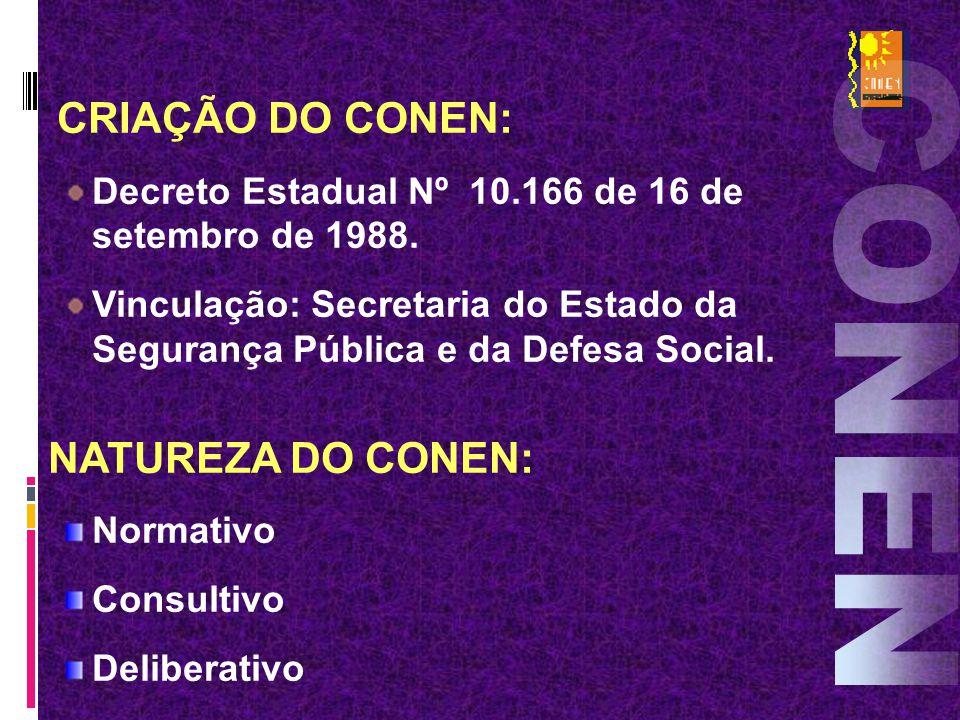 CRIAÇÃO DO CONEN: Decreto Estadual Nº 10.166 de 16 de setembro de 1988. Vinculação: Secretaria do Estado da Segurança Pública e da Defesa Social. NATU