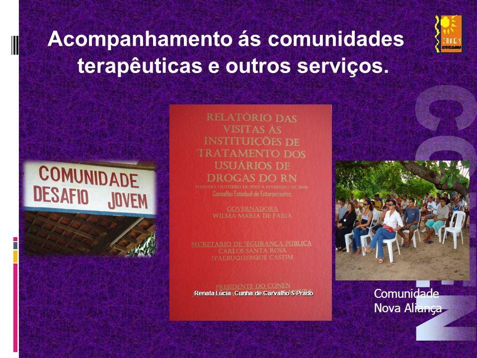 Acompanhamento ás comunidades terapêuticas e outros serviços. Comunidade Nova Aliança Renata Lúcia Cunha de Carvalho S Prado