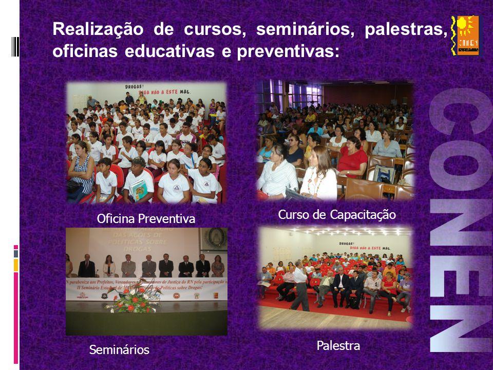 Realização de cursos, seminários, palestras, oficinas educativas e preventivas: Oficina Preventiva Curso de Capacitação Palestra Seminários