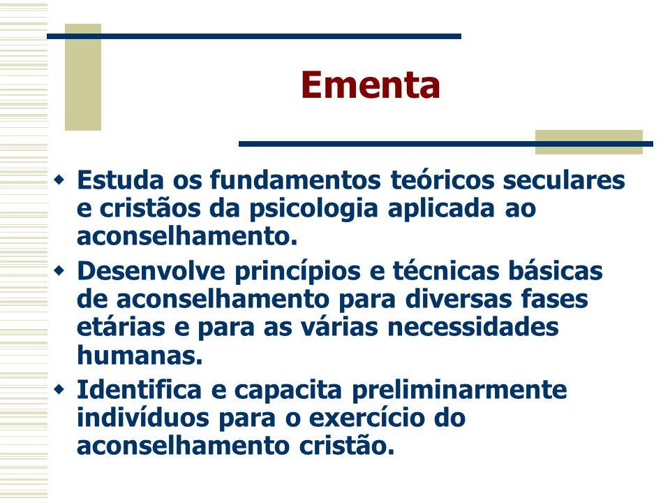Metodologia, Recursos Didáticos e Avaliação  As aulas serão expositivas com leitura complementar = 30 h/a.