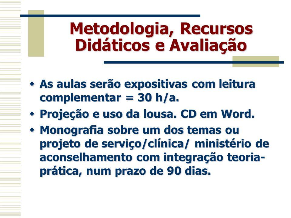 Metodologia, Recursos Didáticos e Avaliação  As aulas serão expositivas com leitura complementar = 30 h/a.  Projeção e uso da lousa. CD em Word.  M