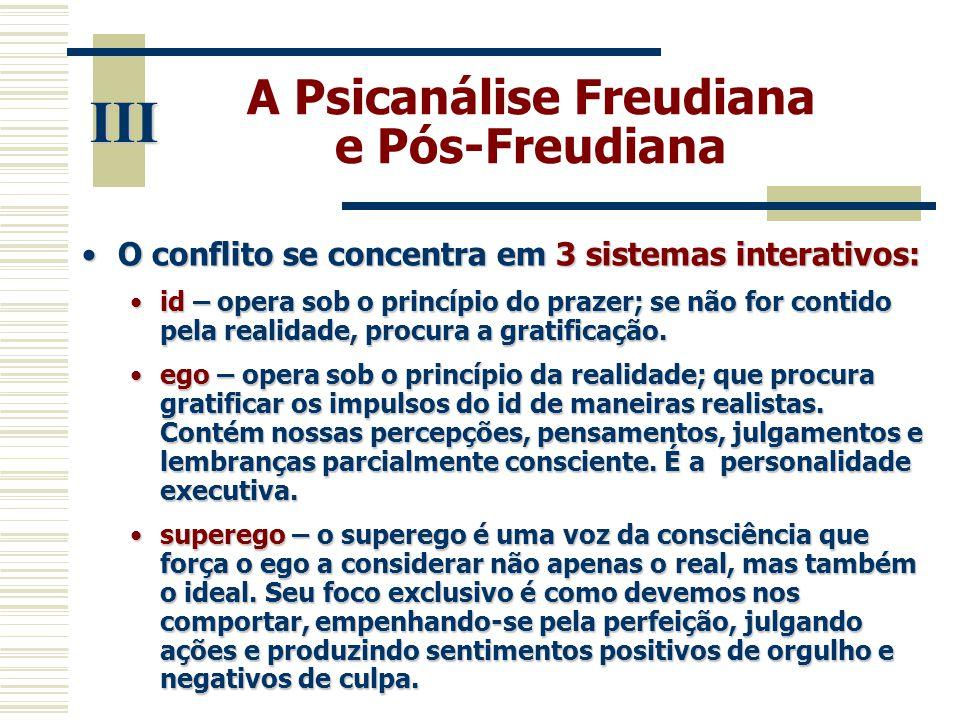 A Psicanálise Freudiana e Pós-Freudiana •O conflito se concentra em 3 sistemas interativos: •id – opera sob o princípio do prazer; se não for contido