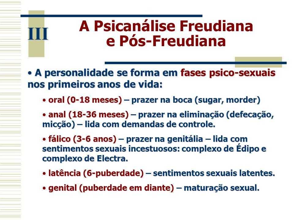 A Psicanálise Freudiana e Pós-Freudiana III • A personalidade se forma em fases psico-sexuais nos primeiros anos de vida: • oral (0-18 meses) – prazer