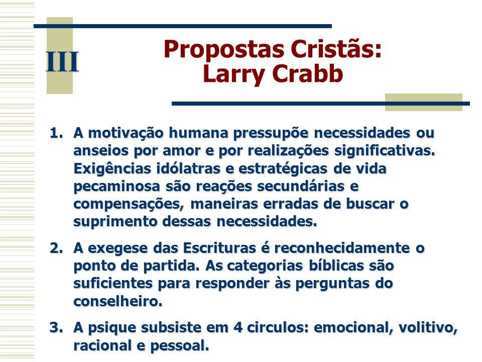 Propostas Cristãs: Larry Crabb III 1.A motivação humana pressupõe necessidades ou anseios por amor e por realizações significativas. Exigências idólat