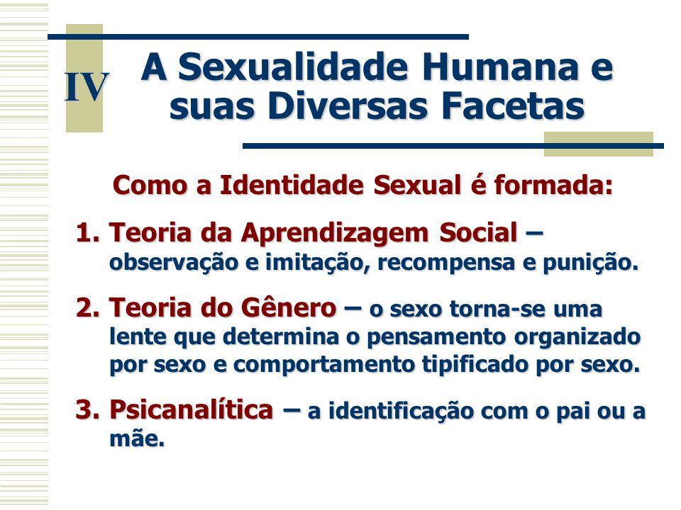 A Sexualidade Humana e suas Diversas Facetas IV Como a Identidade Sexual é formada: 1.Teoria da Aprendizagem Social – observação e imitação, recompens