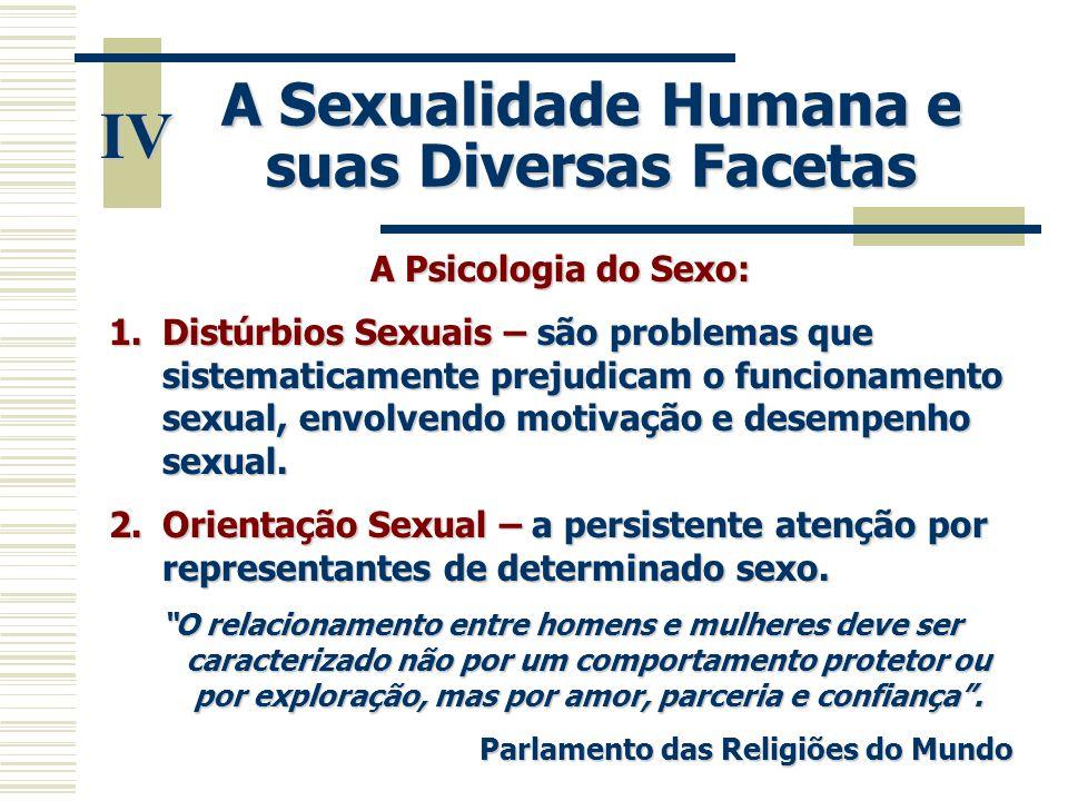 A Sexualidade Humana e suas Diversas Facetas IV A Psicologia do Sexo: 1.Distúrbios Sexuais – são problemas que sistematicamente prejudicam o funcionam