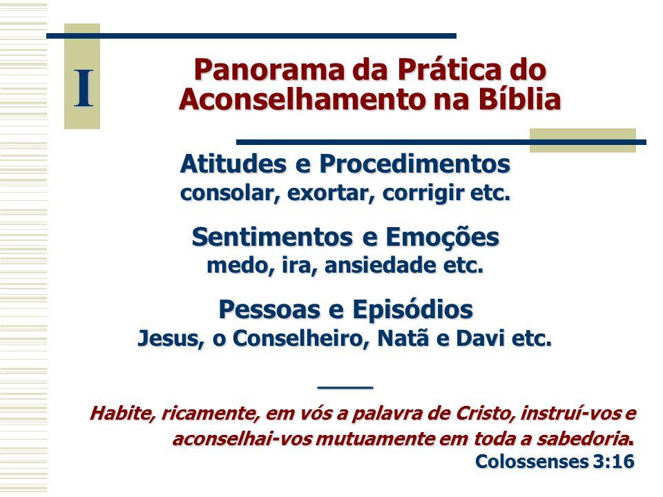 Panorama da Prática do Aconselhamento na Bíblia Atitudes e Procedimentos consolar, exortar, corrigir etc. Sentimentos e Emoções medo, ira, ansiedade e