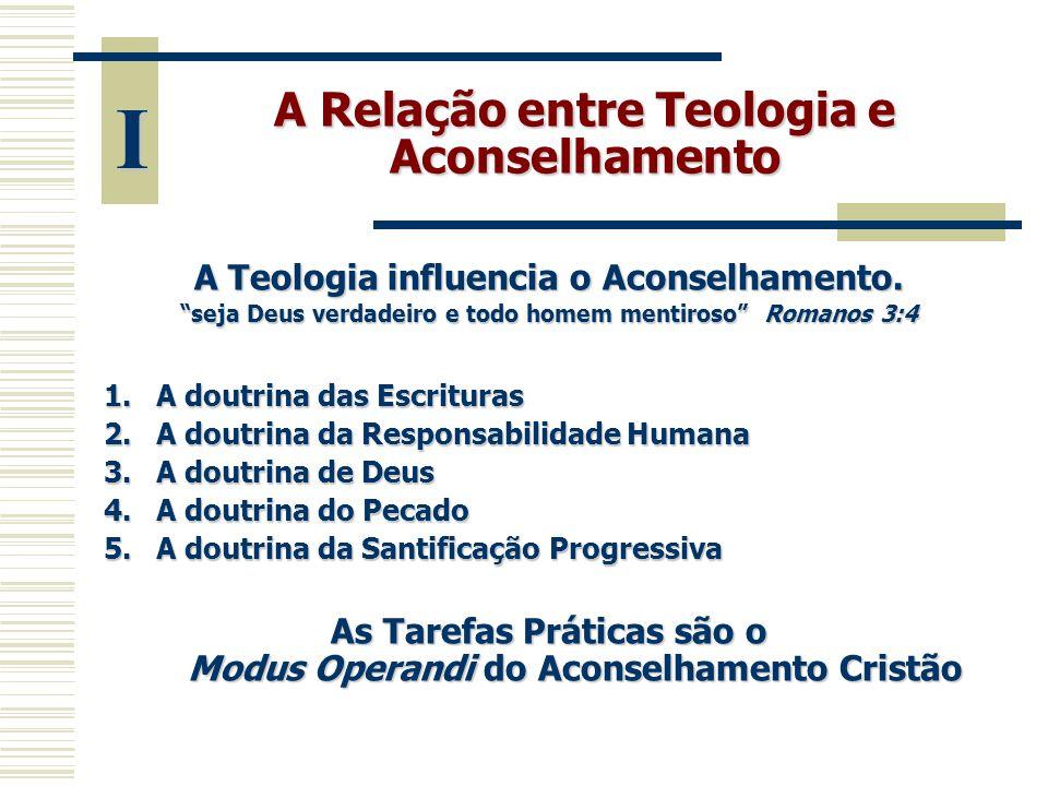 A Relação entre Teologia e Aconselhamento A Doutrina das Escrituras conduz o conselheiro, o aconselhado e o processo de aconselhamento a submeterem-se à autoridade absoluta das Escrituras.