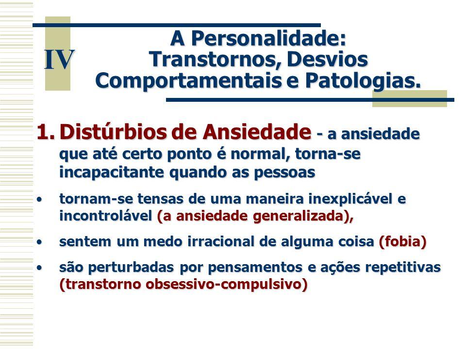 IV A Personalidade: Transtornos, Desvios Comportamentais e Patologias. 1.Distúrbios de Ansiedade - a ansiedade que até certo ponto é normal, torna-se