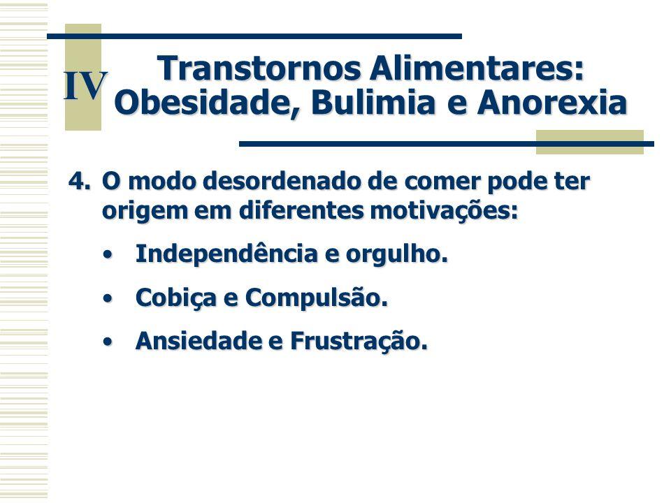 IV Transtornos Alimentares: Obesidade, Bulimia e Anorexia 4.O modo desordenado de comer pode ter origem em diferentes motivações: •Independência e org