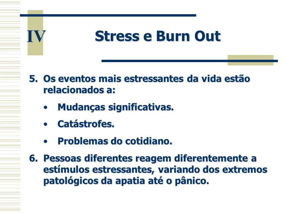 IV Stress e Burn Out 5.Os eventos mais estressantes da vida estão relacionados a: •Mudanças significativas. •Catástrofes. •Problemas do cotidiano. 6.P