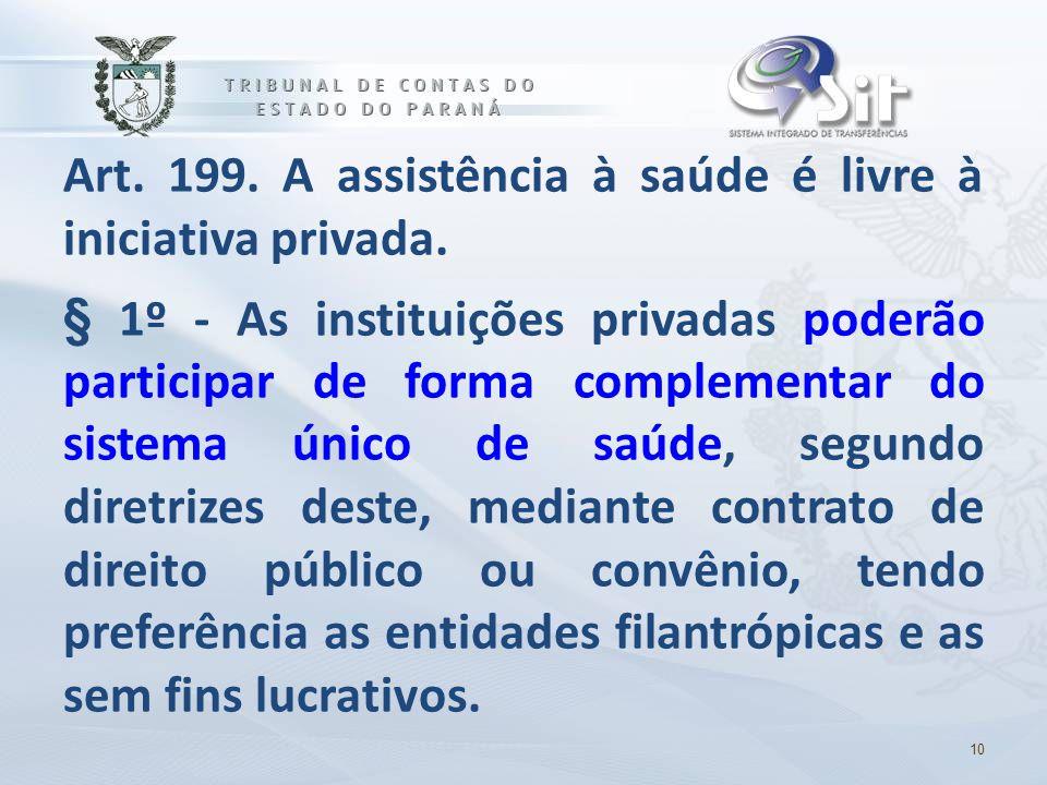 Art. 199. A assistência à saúde é livre à iniciativa privada. § 1º - As instituições privadas poderão participar de forma complementar do sistema únic