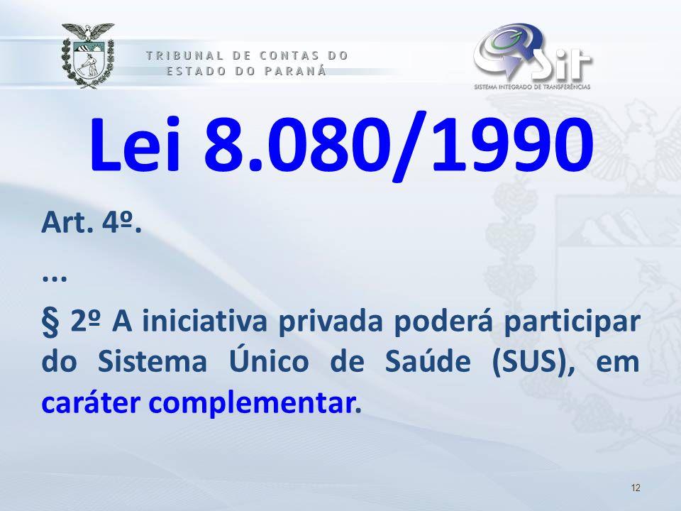Lei 8.080/1990 Art. 4º.... § 2º A iniciativa privada poderá participar do Sistema Único de Saúde (SUS), em caráter complementar. 12
