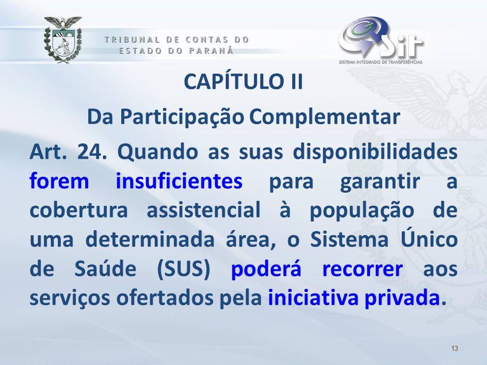 CAPÍTULO II Da Participação Complementar Art. 24. Quando as suas disponibilidades forem insuficientes para garantir a cobertura assistencial à populaç