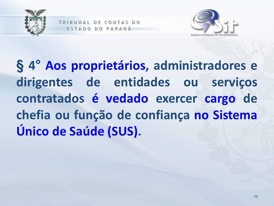 § 4° Aos proprietários, administradores e dirigentes de entidades ou serviços contratados é vedado exercer cargo de chefia ou função de confiança no S